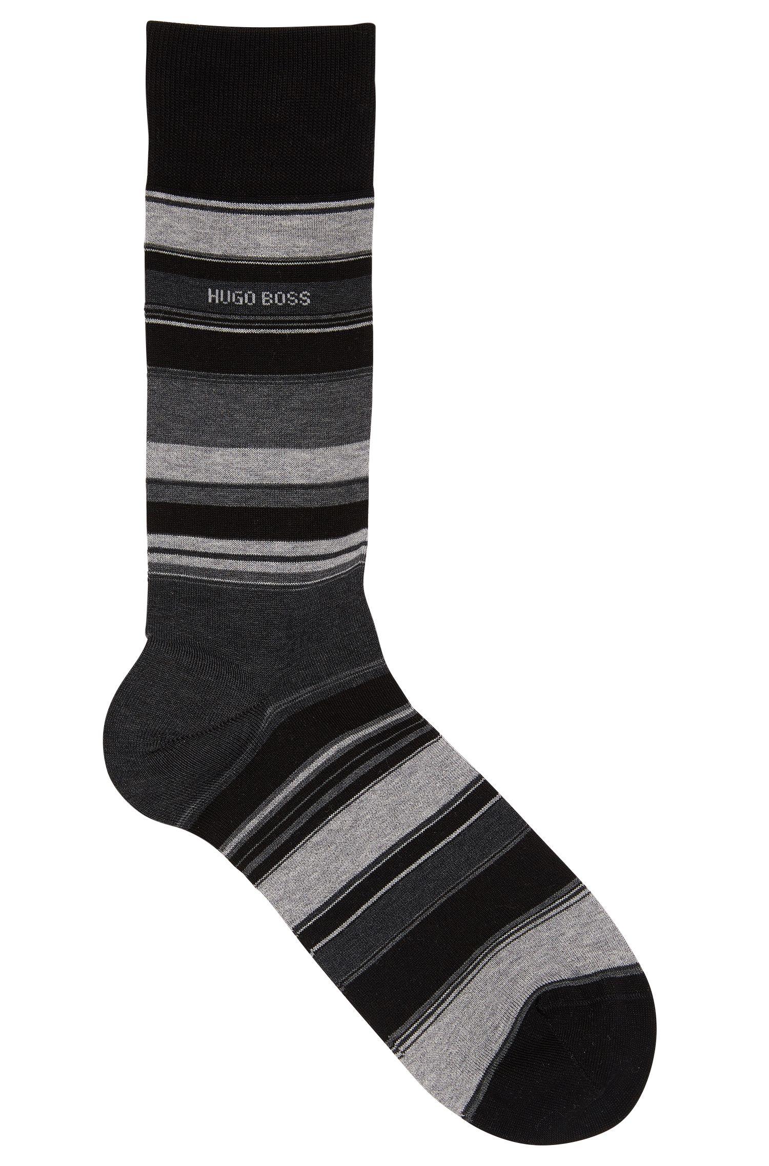 Striped socks in mercerised cotton blend