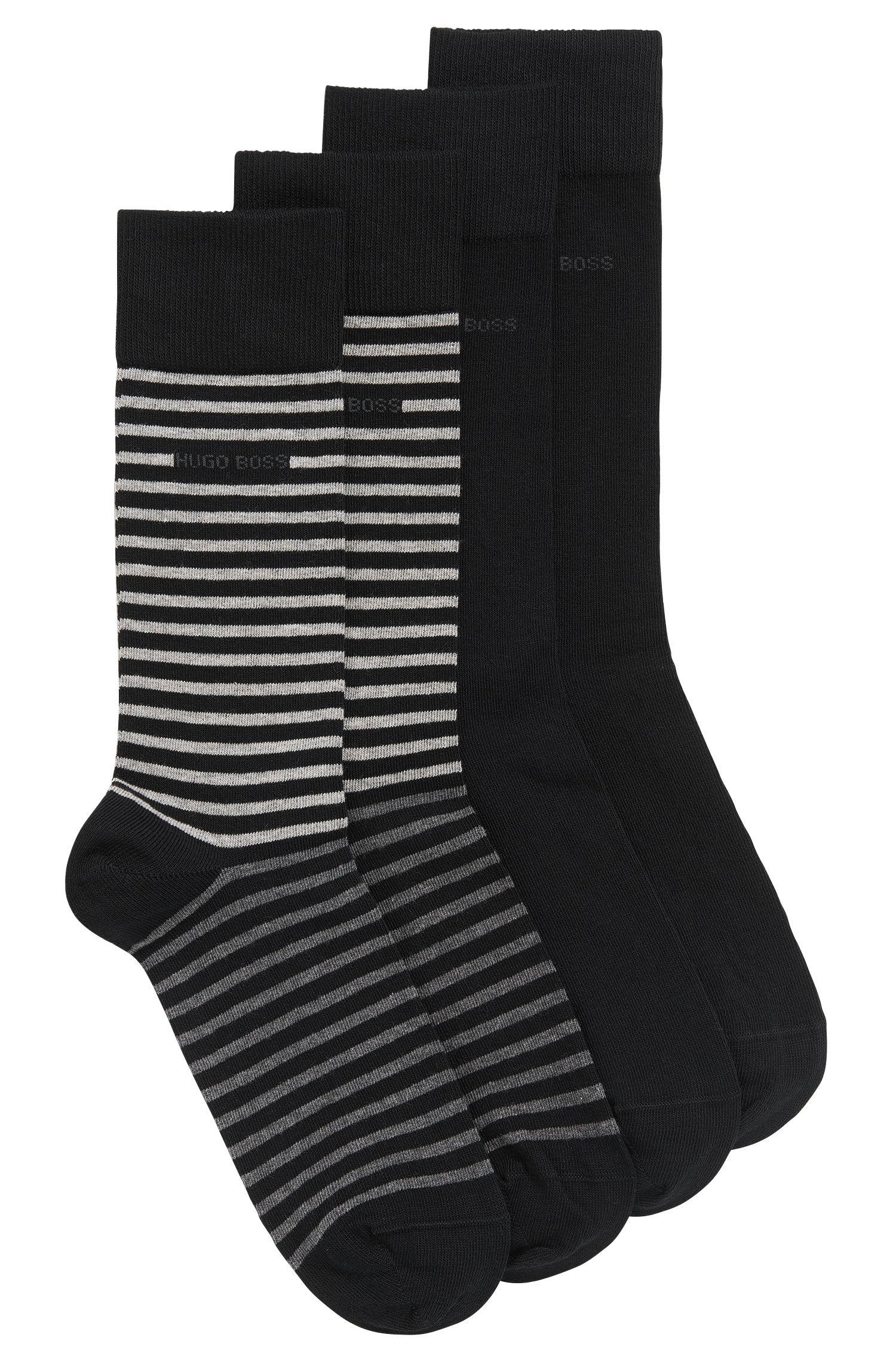 Paquete de dos pares de calcetines ligeros de largo normal en algodón peinado