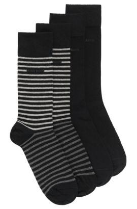 Chaussettes mi-mollet légères en lot de deux, en coton peigné, Noir
