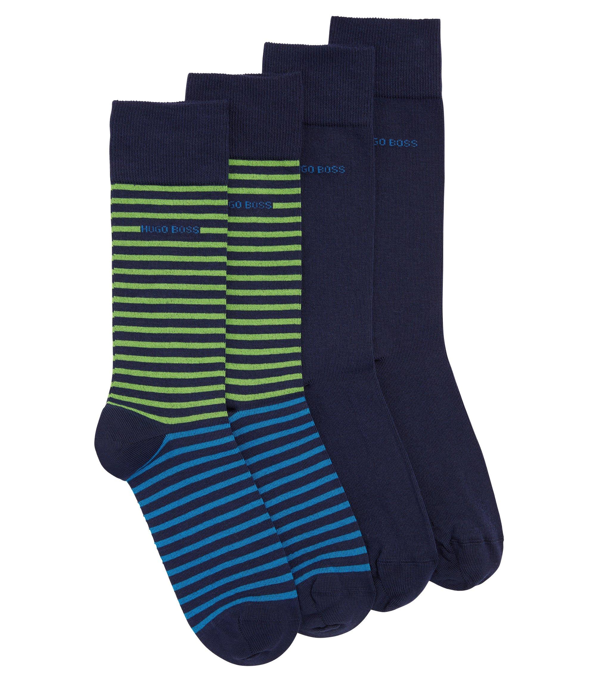 Set van twee paar lichte sokken van gekamde katoen met een normale lengte, Donkerblauw