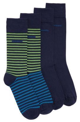 Chaussettes mi-mollet légères en lot de deux, en coton peigné, Bleu foncé