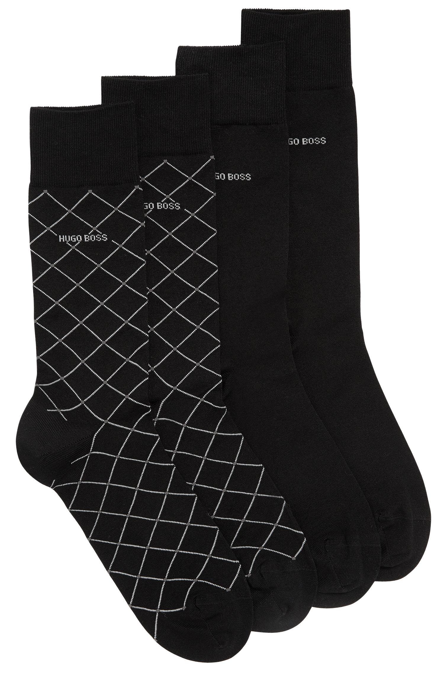 Set van twee paar sokken met normale lengte, van een gemerceriseerde katoenmix