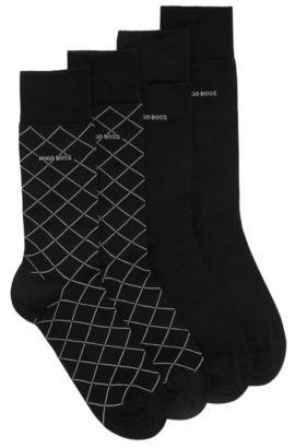 Paquete de dos pares de calcetines de largo normal en mezcla de algodón mercerizado, Negro