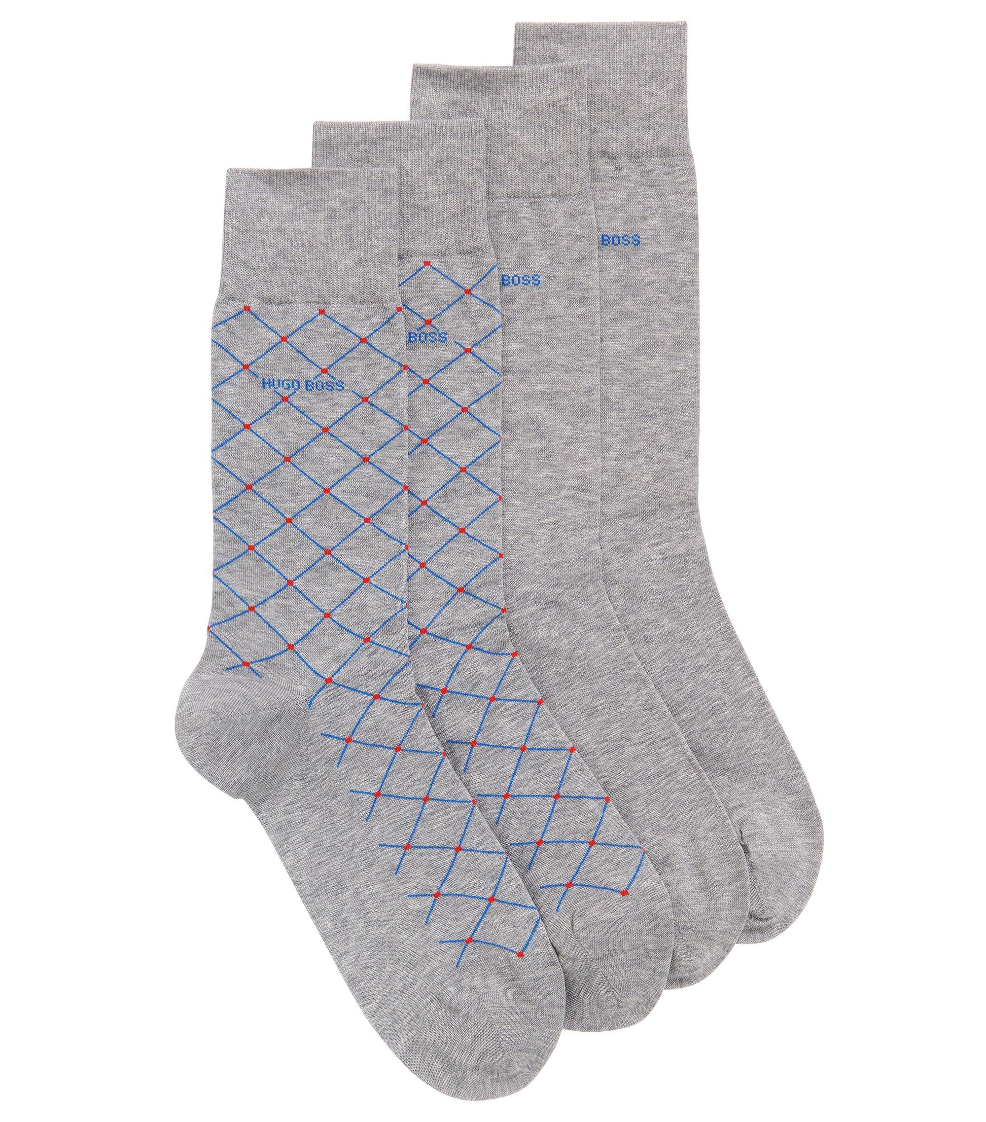 Paquete de dos pares de calcetines de largo normal en mezcla de algodón mercerizado, Plata