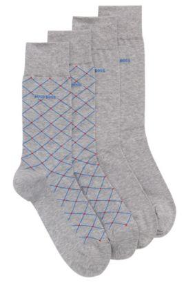 Set van twee paar sokken met normale lengte, van een gemerceriseerde katoenmix, Zilver