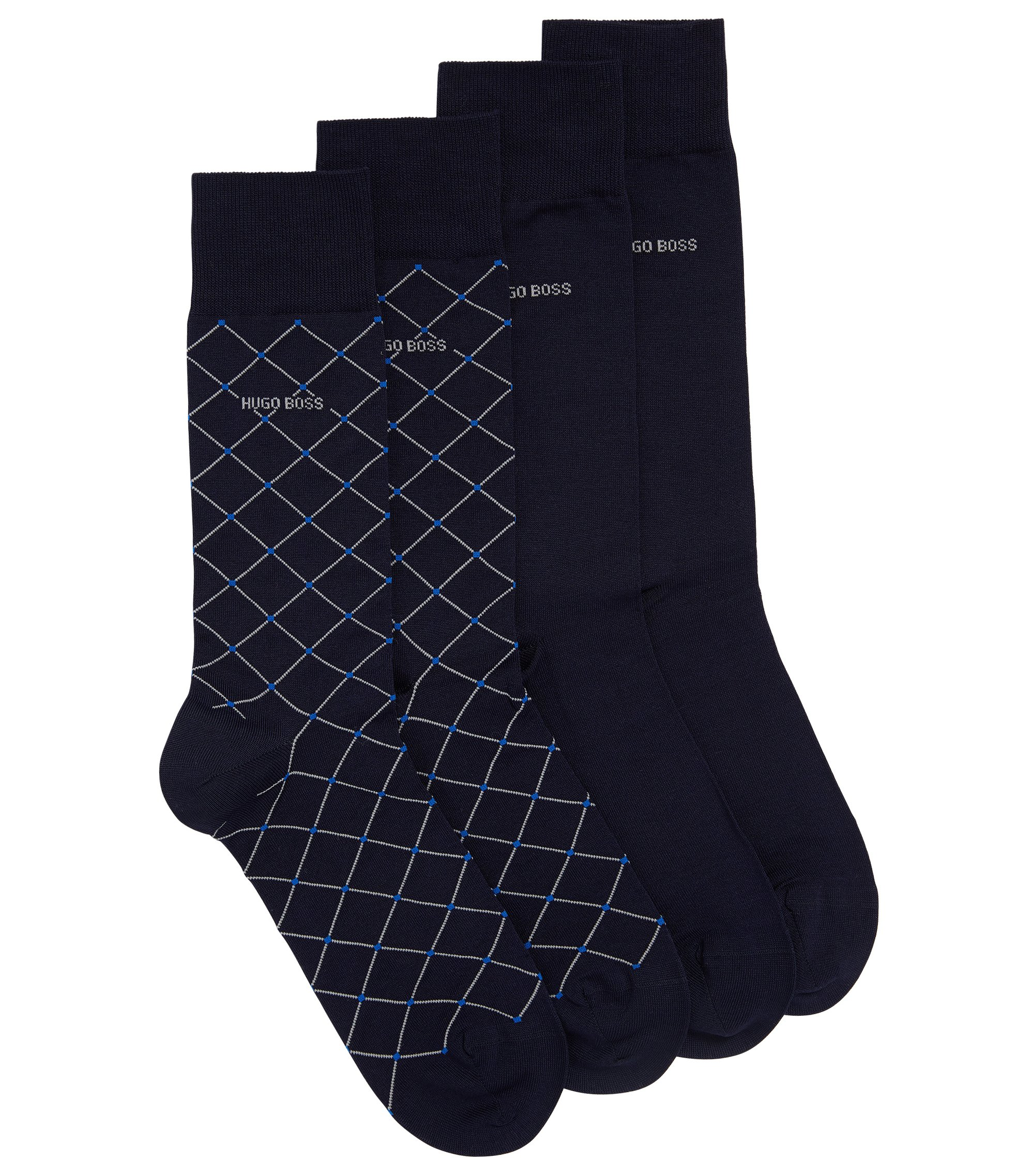 Two-pack of regular-length socks in mercerised cotton blend, Dark Blue