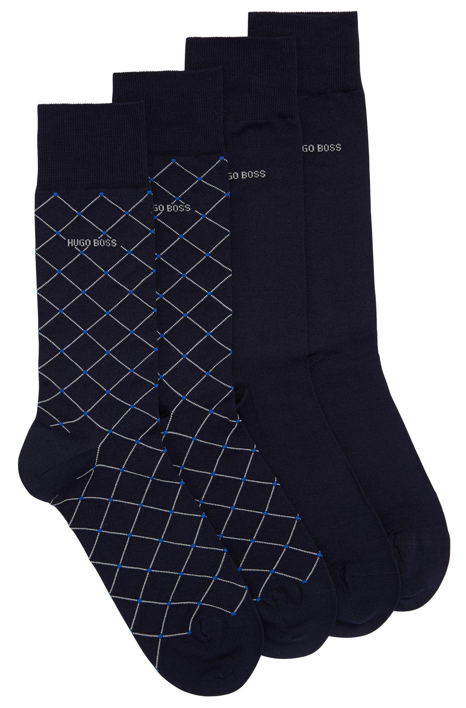 Two-pack of regular-length socks in mercerised cotton blend