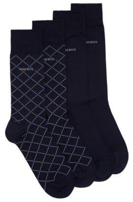 Paquete de dos pares de calcetines de largo normal en mezcla de algodón mercerizado, Azul oscuro