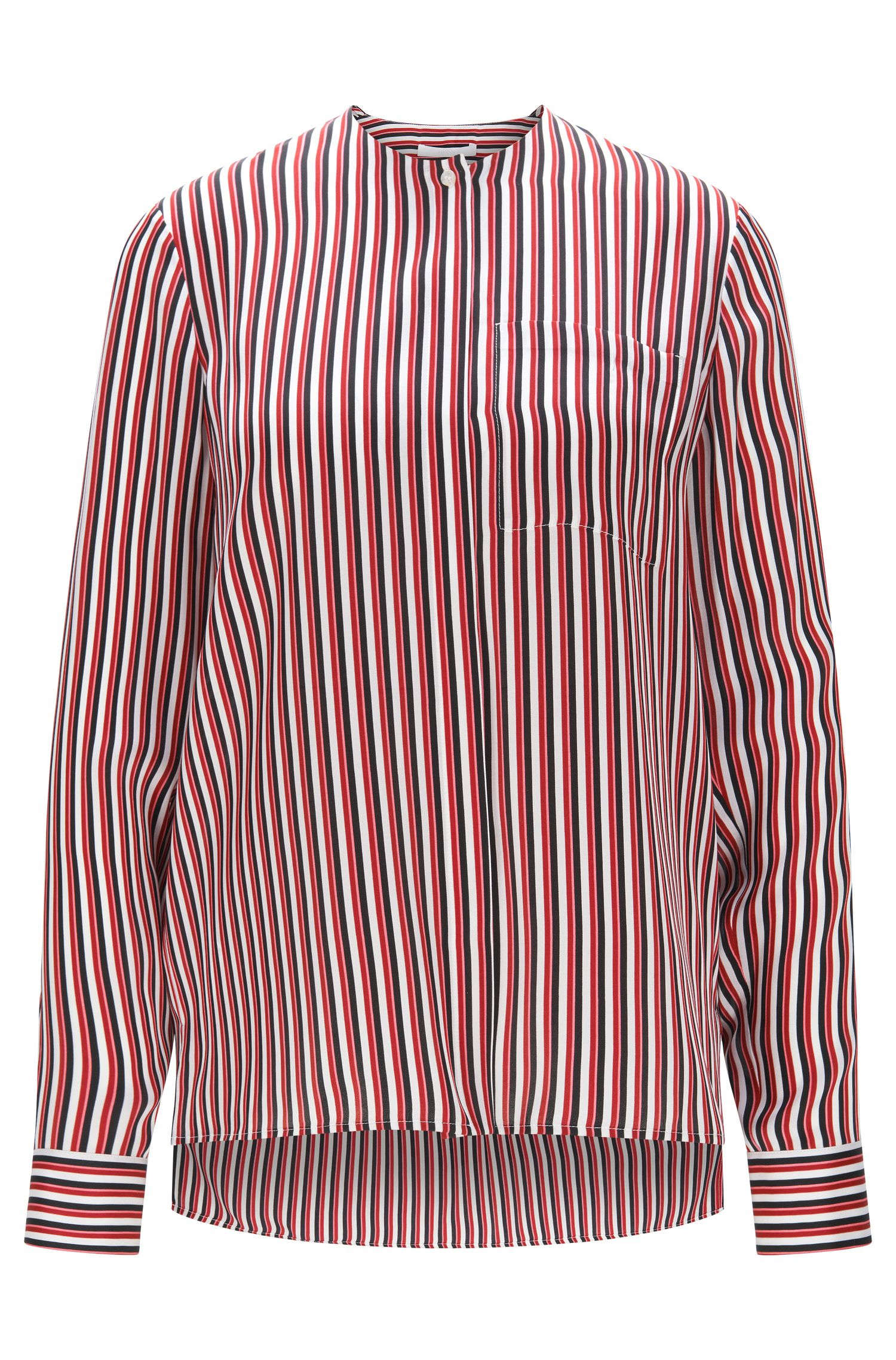 Relaxed-fit silk blouse with striped print