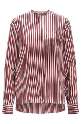 Relaxed-fit silk blouse with striped print, Patterned