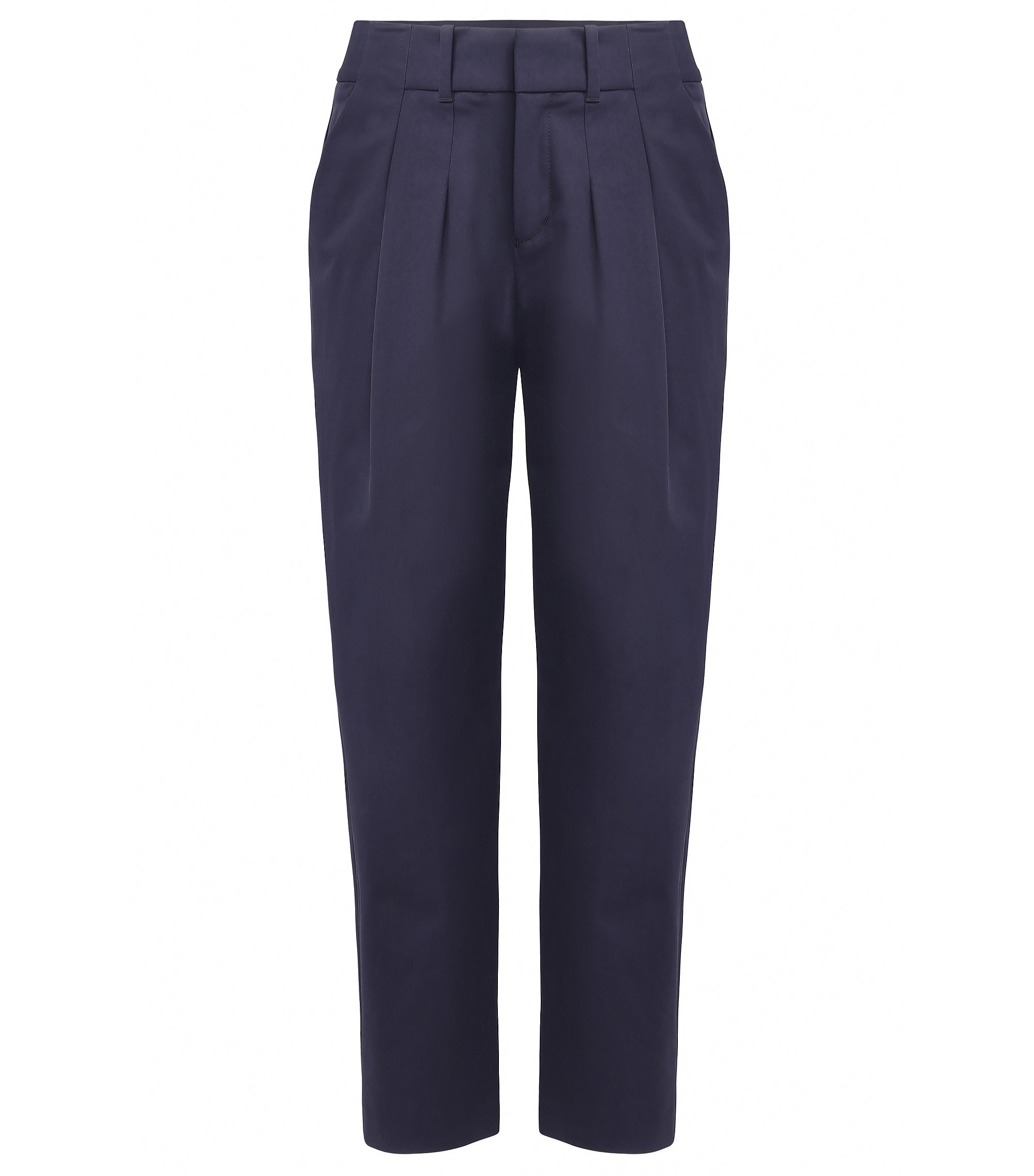 Relaxed-fit suit trousers in stretch twill, Dark Blue
