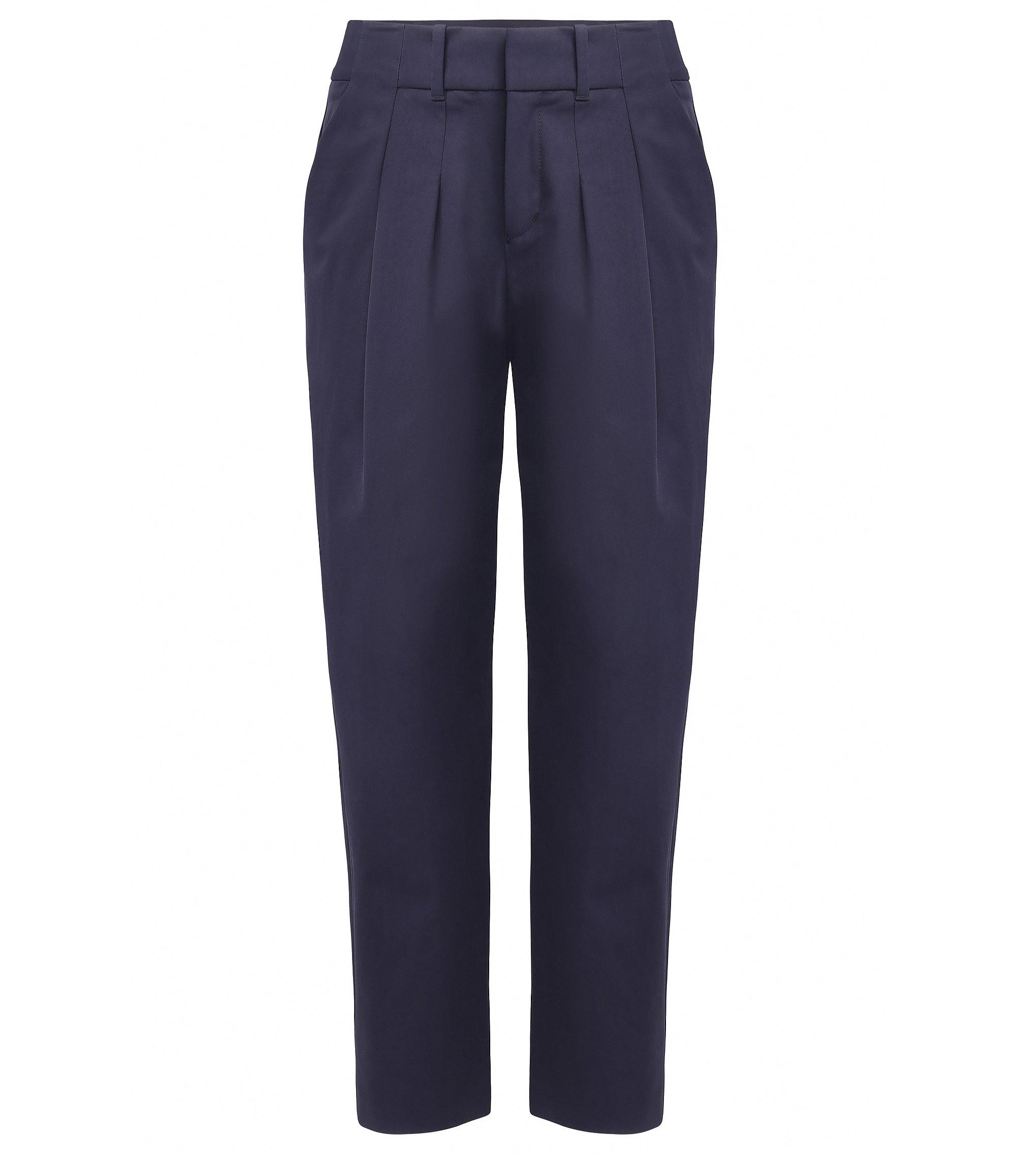 Relaxed-Fit Anzughose aus elastischer Baumwolle, Dunkelblau