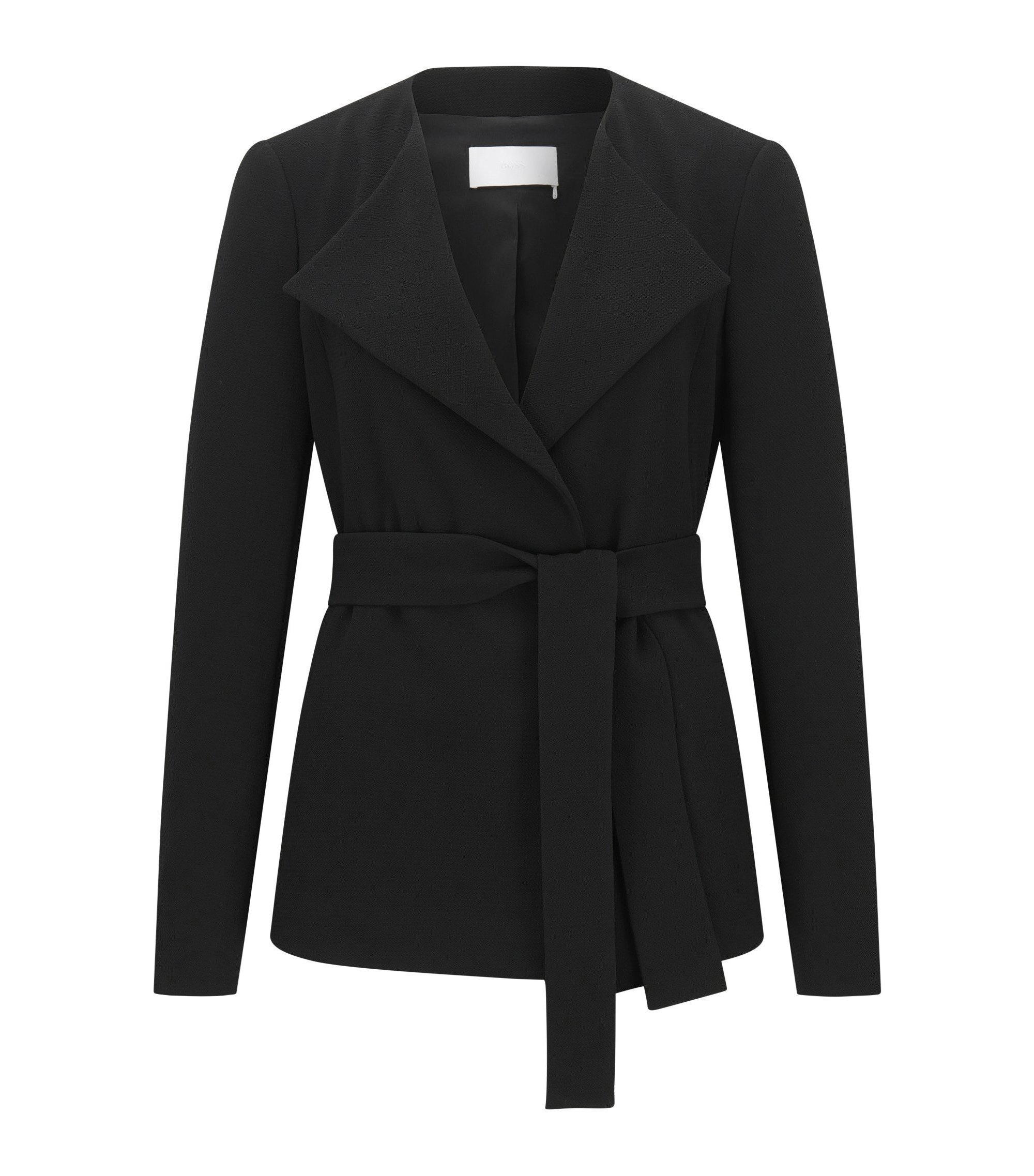 Relaxed-fit blazer in crepe fabric with belt detail , Black