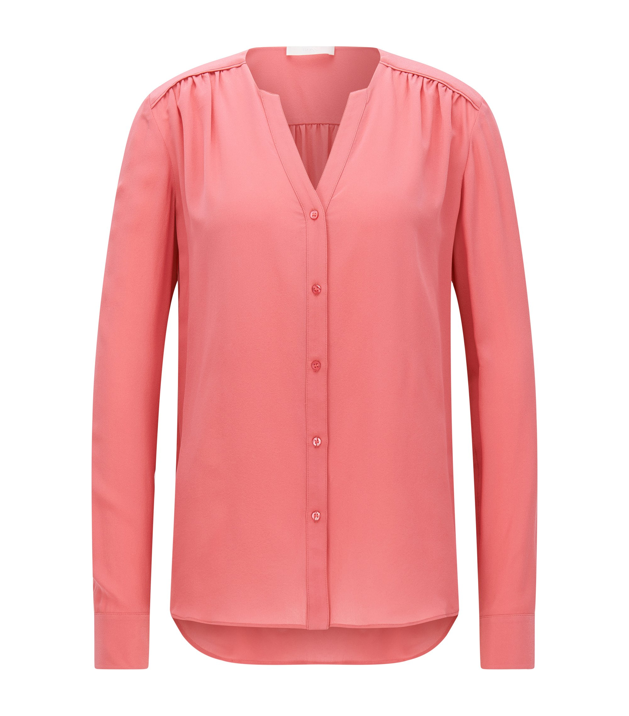 Regular-fit blouse in silk crêpe, Light Red