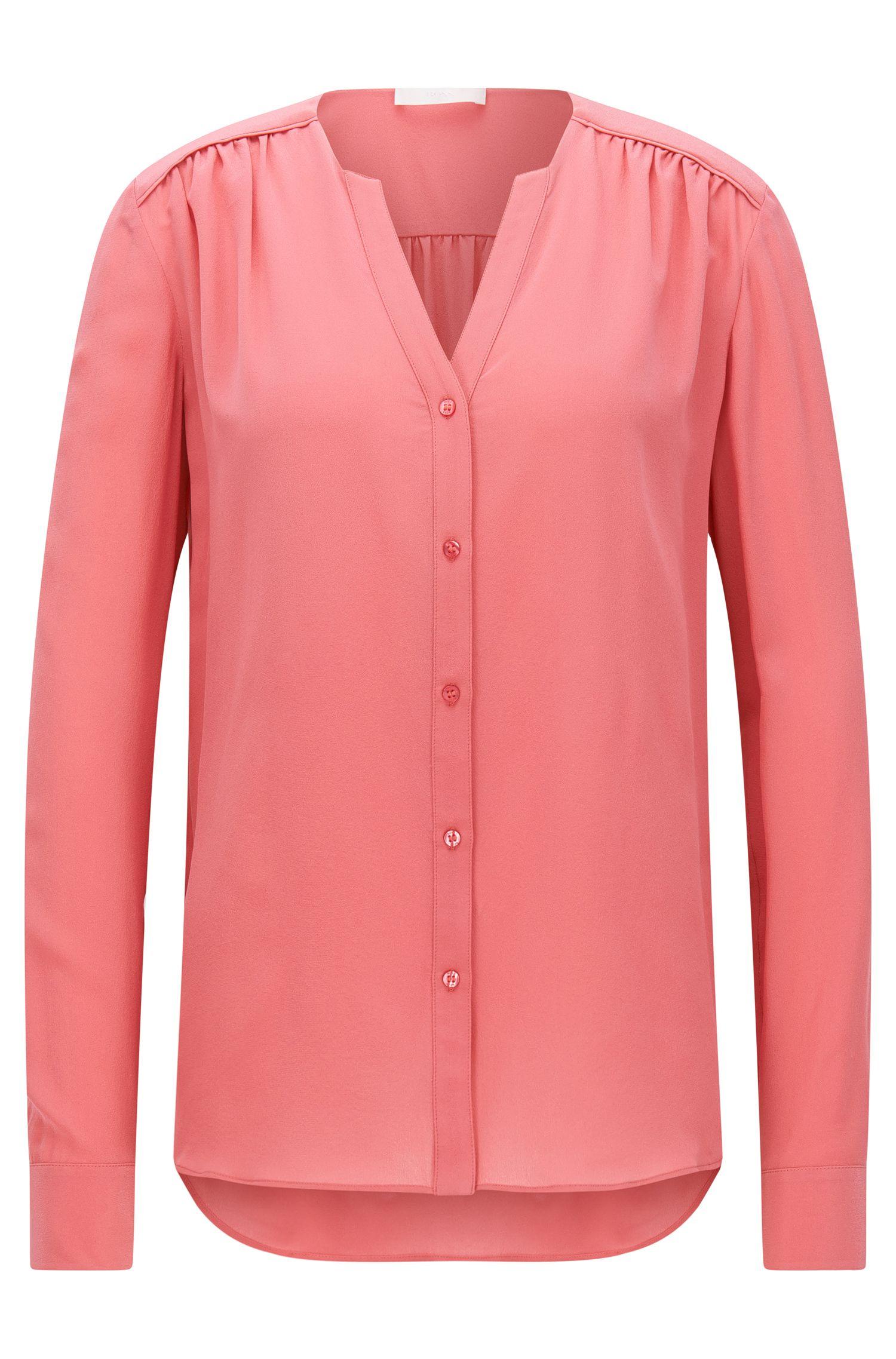 Blusa regular fit en crepé de seda