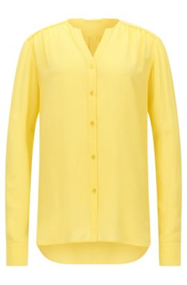 Blusa regular fit en crepé de seda, Amarillo