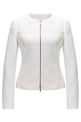 Giacca regular fit con zip integrale in jersey jacquard lavorato, Naturale