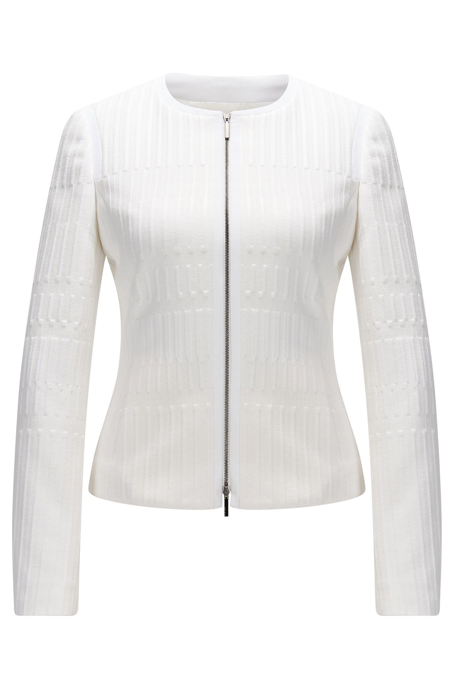 Regular-fit zip-through jacket in textured jersey jacquard