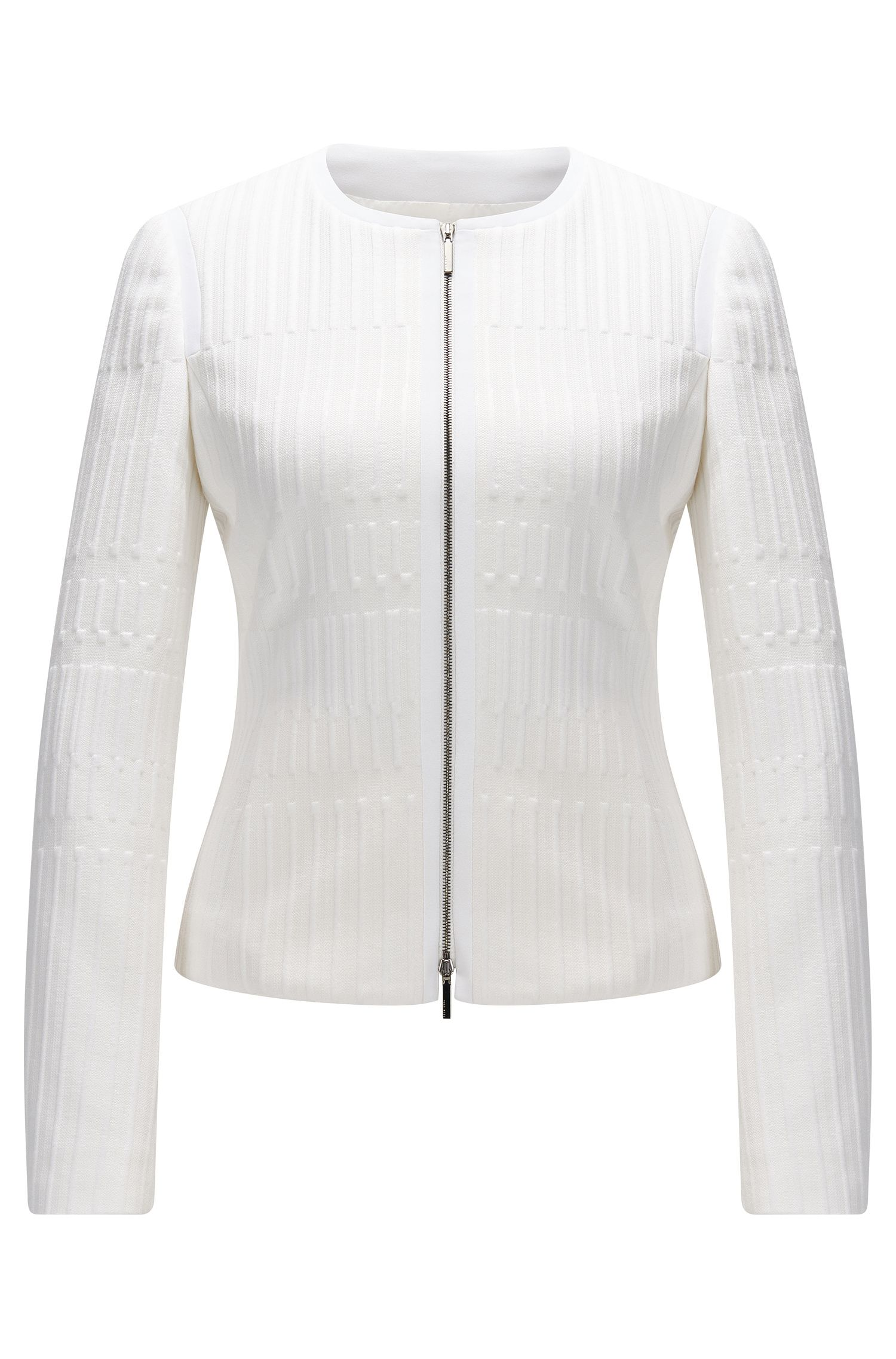 Regular-fit zip-through jacket in textured jersey jacquard