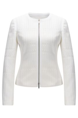 Regular-fit zip-through jacket in textured jersey jacquard, Natural