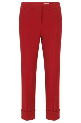 Relaxed-fit trousers with a cropped length, Red