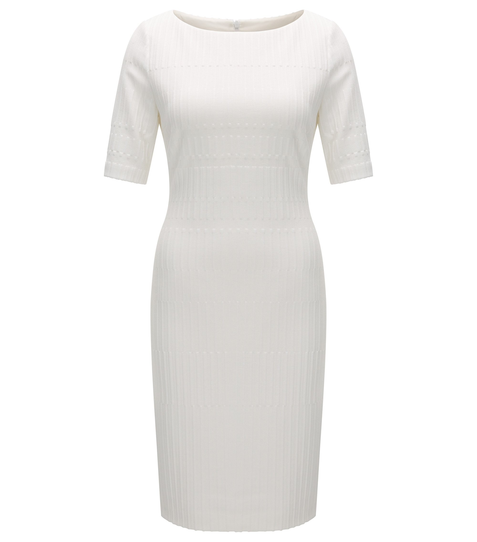 Slim-fit jersey dress in a textured jacquard, Natural