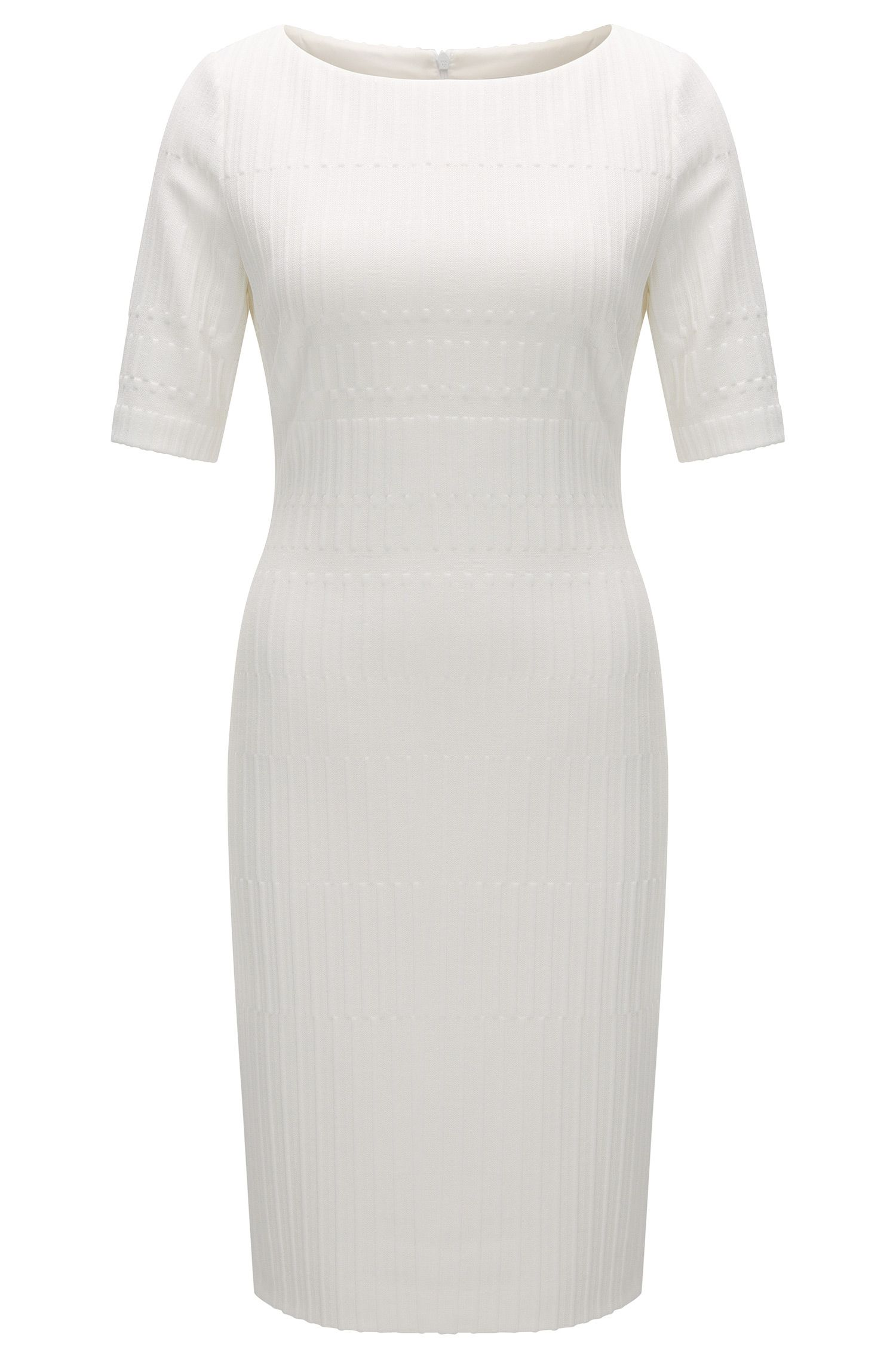 Slim-fit jersey dress in a textured jacquard