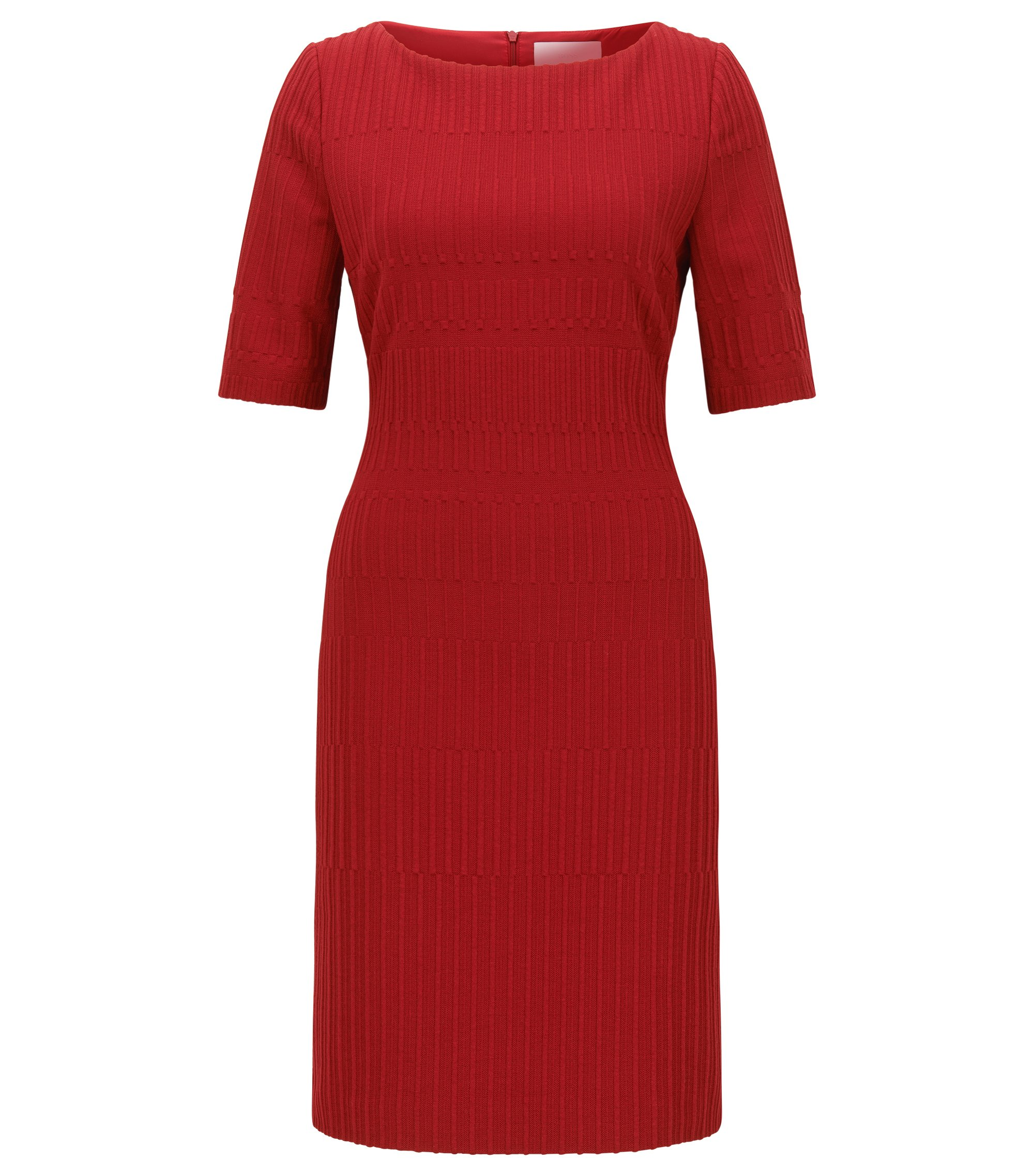 Slim-Fit Kleid aus strukturiertem Jacquard, Rot