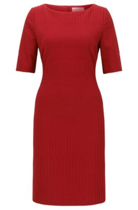 Slim-fit jersey dress in a textured jacquard, Red