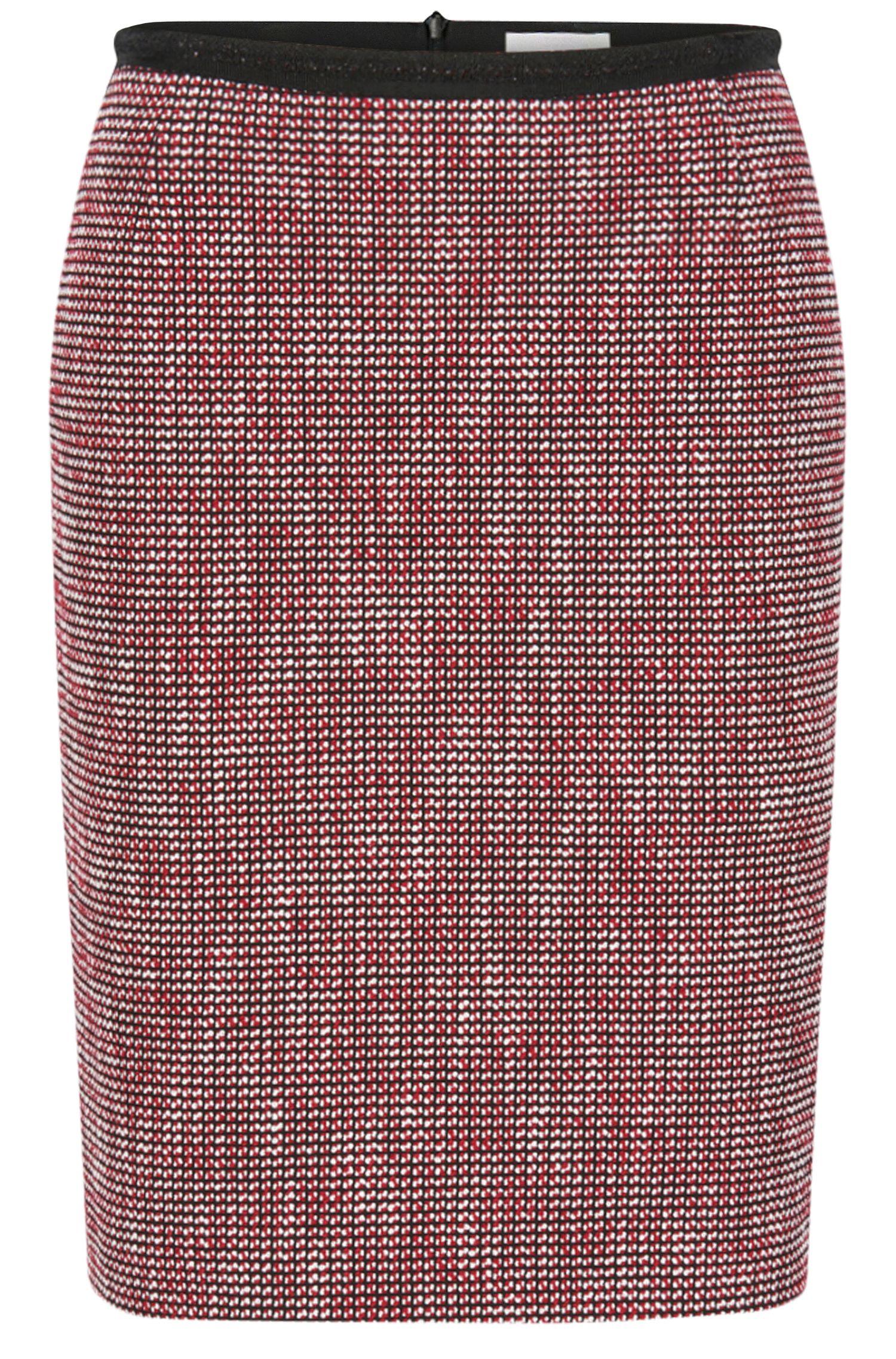 Gonna a tubino slim fit in misto cotone con micro disegni