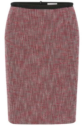 Slim-fit pencil skirt in cotton blend with micro pattern, Patterned