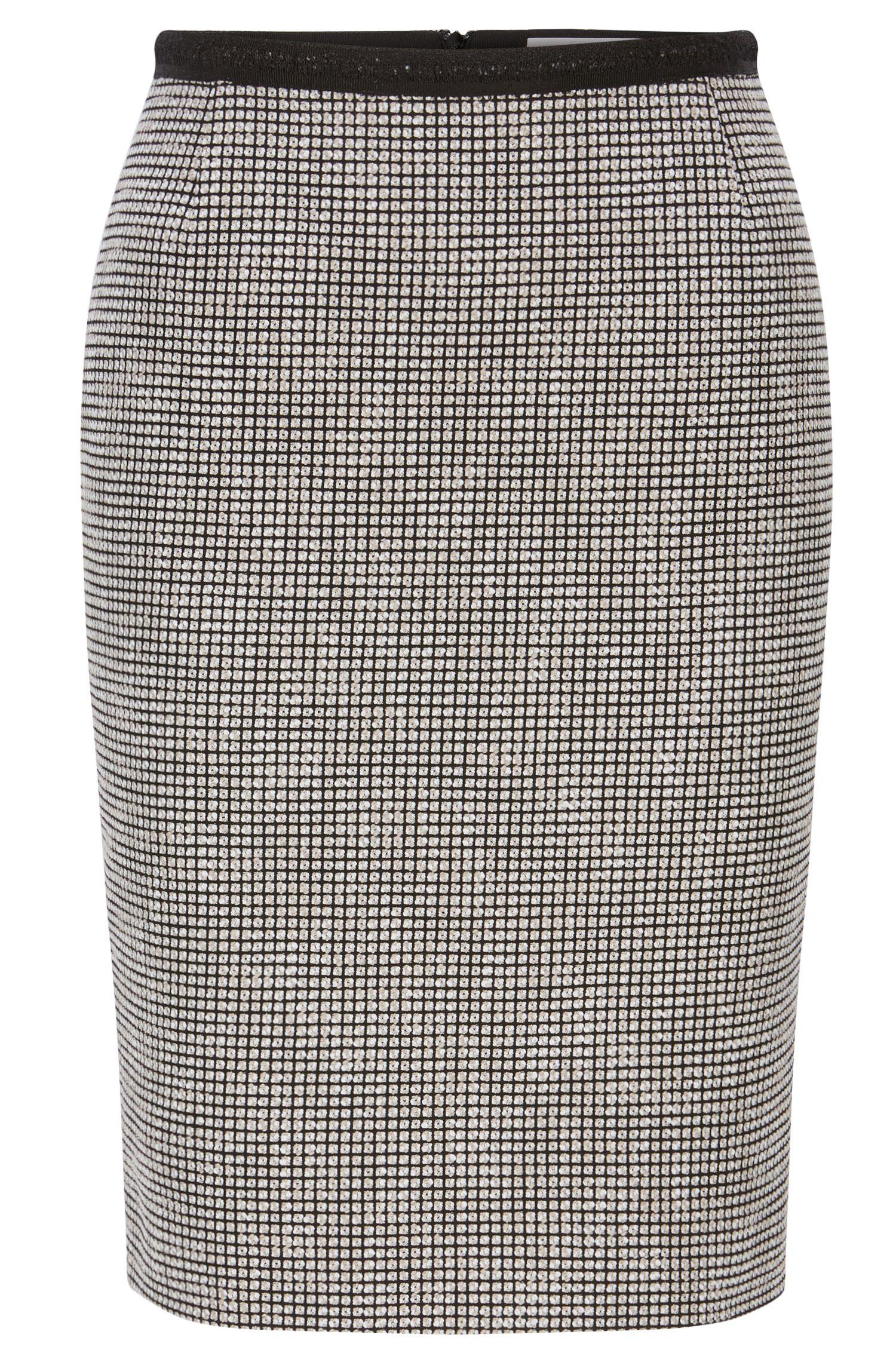 Jupe crayon Slim Fit en coton mélangé à micro-motif