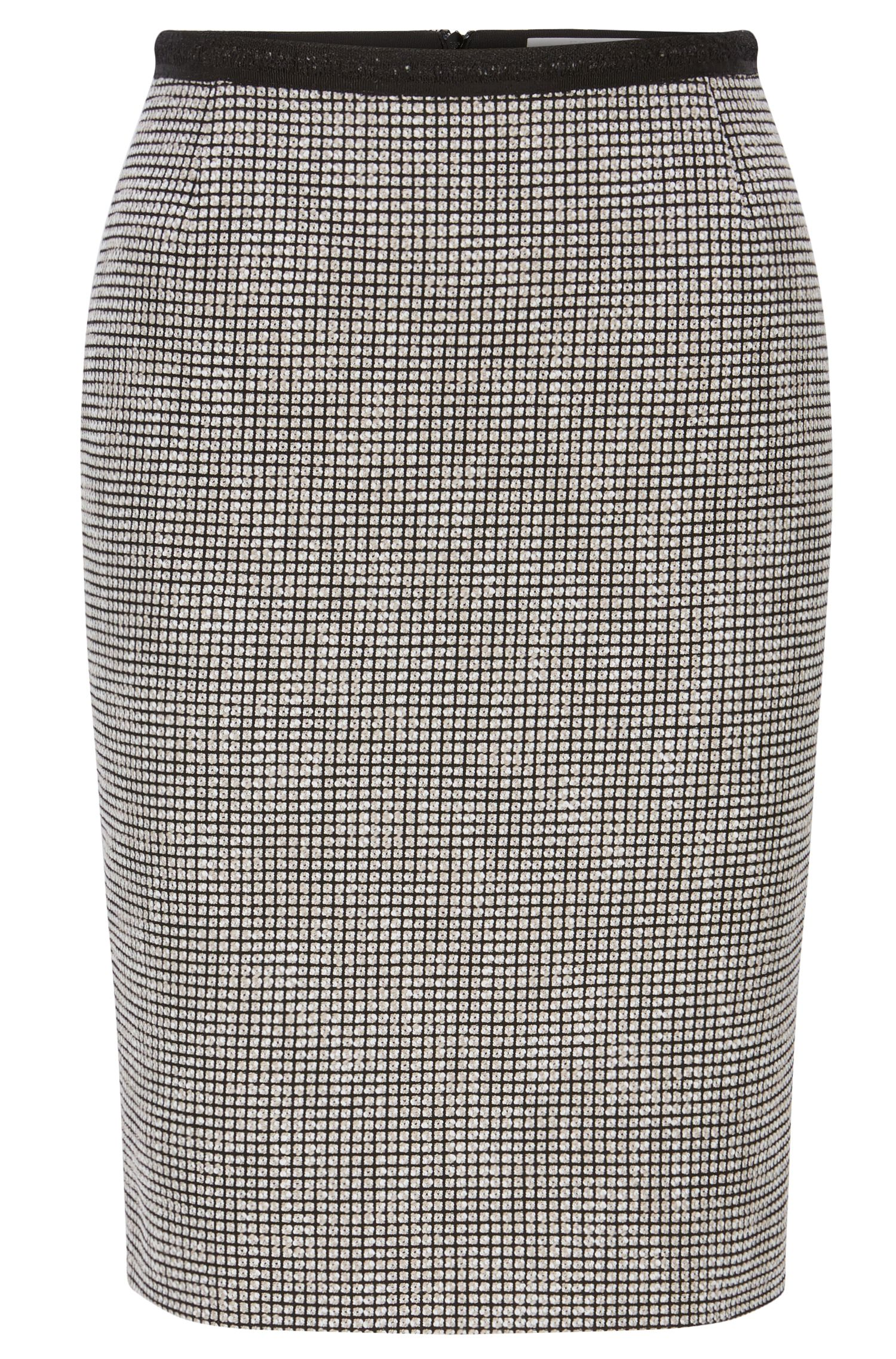 Slim-fit pencil skirt in cotton blend with micro pattern