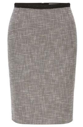 Slim-Fit Bleistiftrock aus Baumwoll-Mix mit Muster, Gemustert
