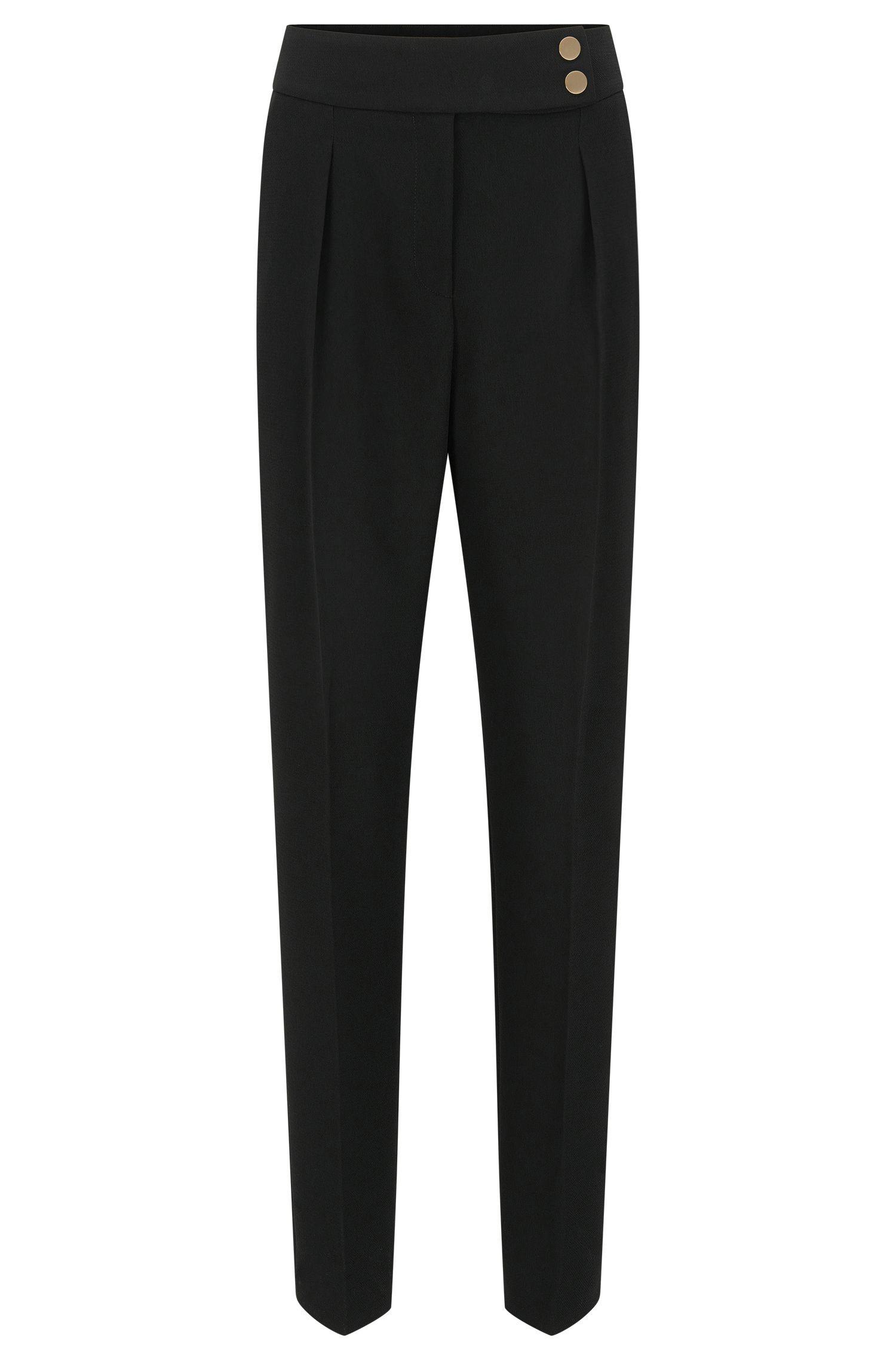 Pantalon taille haute en crêpe léger