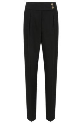 Pantalon taille haute en crêpe léger, Noir