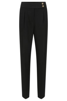 High-waisted trousers in lightweight crepe, Black