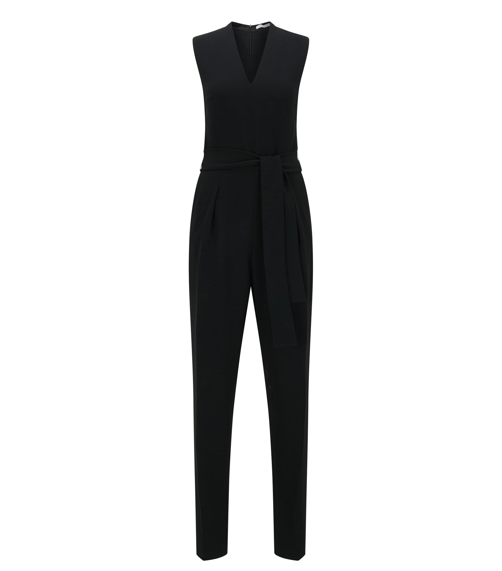 Slim-fit jumpsuit in een ontwerp met V-hals, Zwart