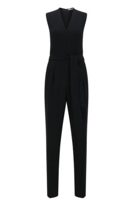 Slim-fit jumpsuit with V-neck design, Black