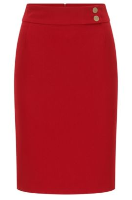 Slim-fit pencil skirt in structured crepe, Red