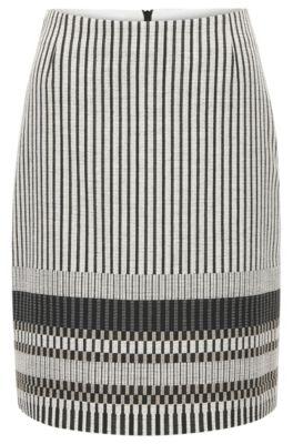 Regular-fit rok van een katoenmix met strependessin, Bedrukt