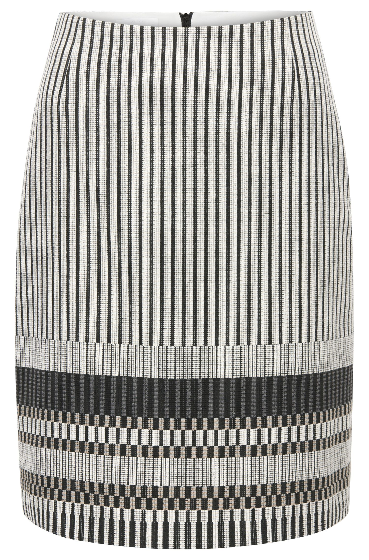 Regular-fit cotton blend skirt with stripe pattern