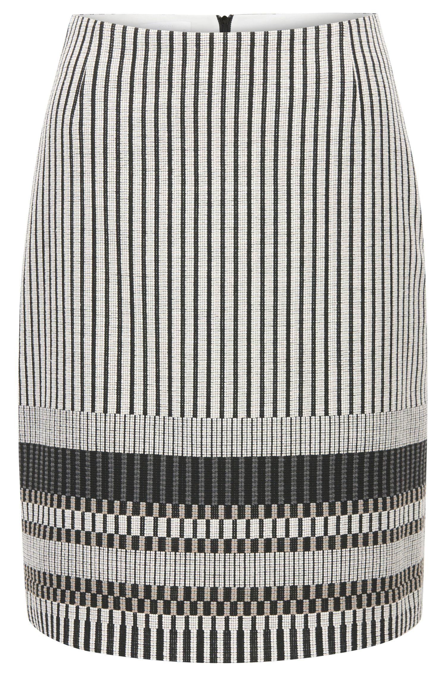 Regular-fit rok van een katoenmix met strependessin