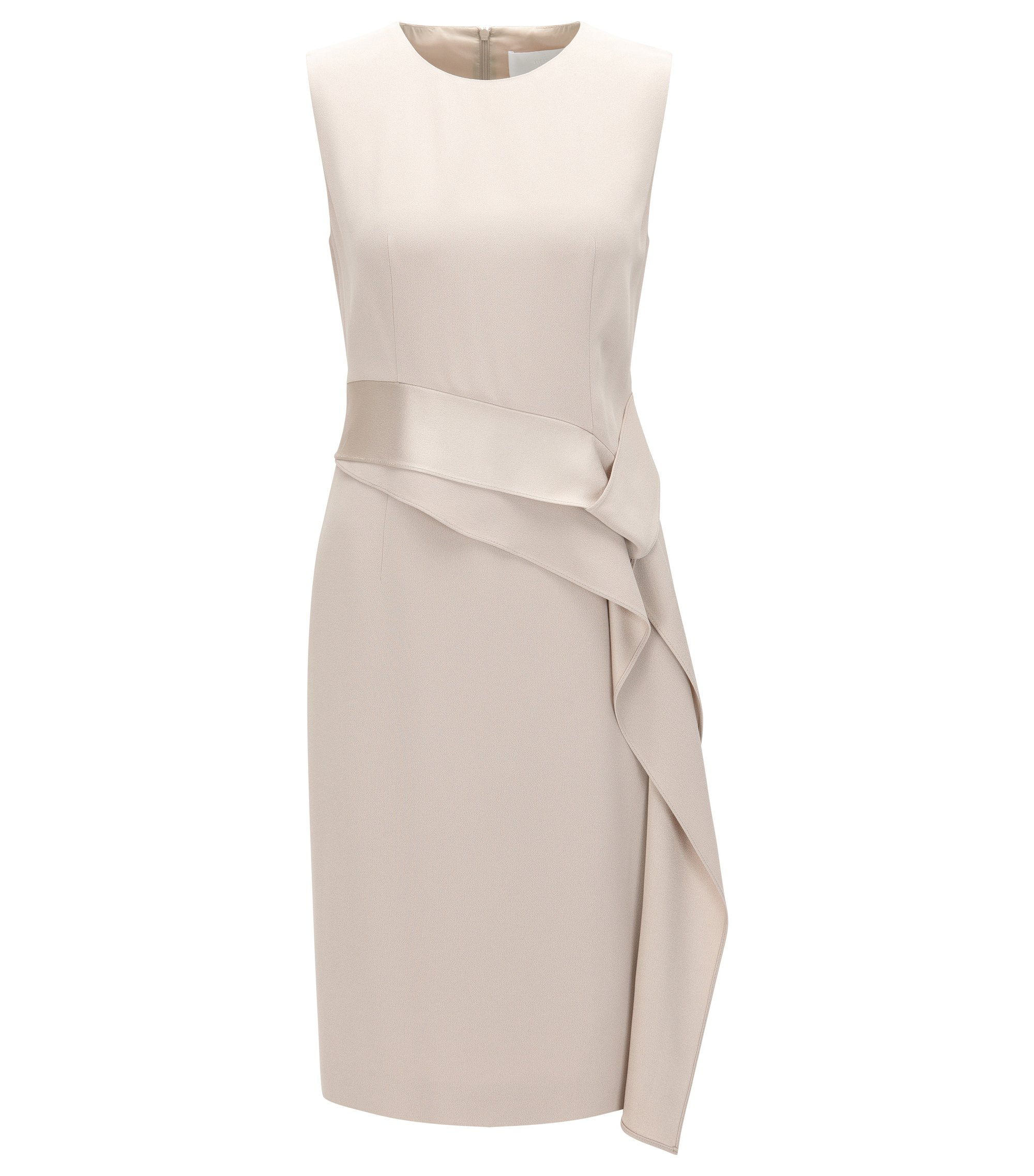 Slim-fit shift dress with ribbon detailing, Beige