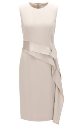 Slim-fit shiftdress met lintdetail, Beige