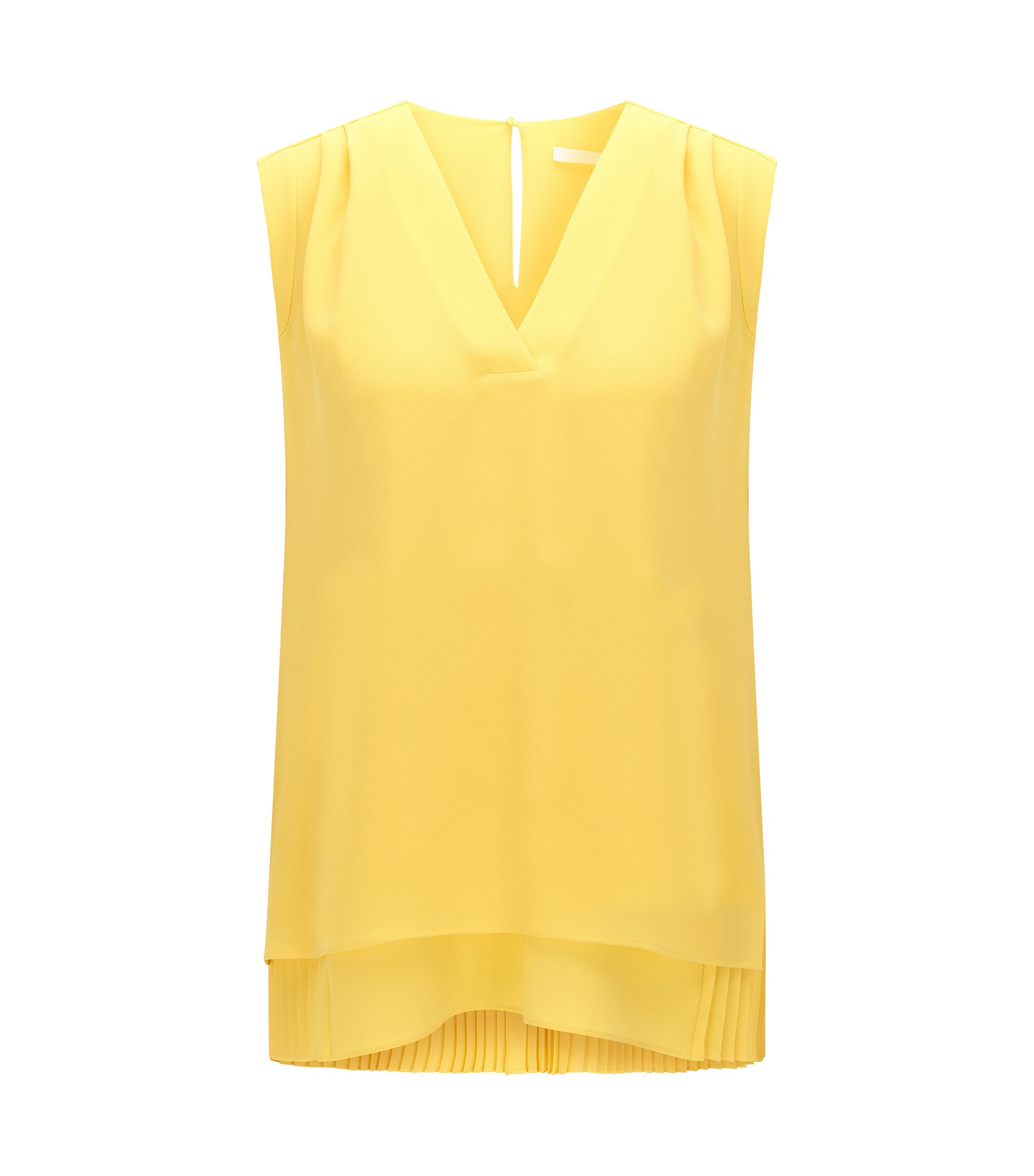Top sans manches Regular Fit à doublure plissée, Jaune