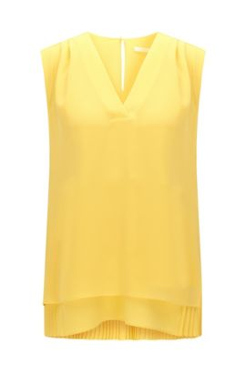 Regular-fit sleeveless top with pleated underlayer, Yellow