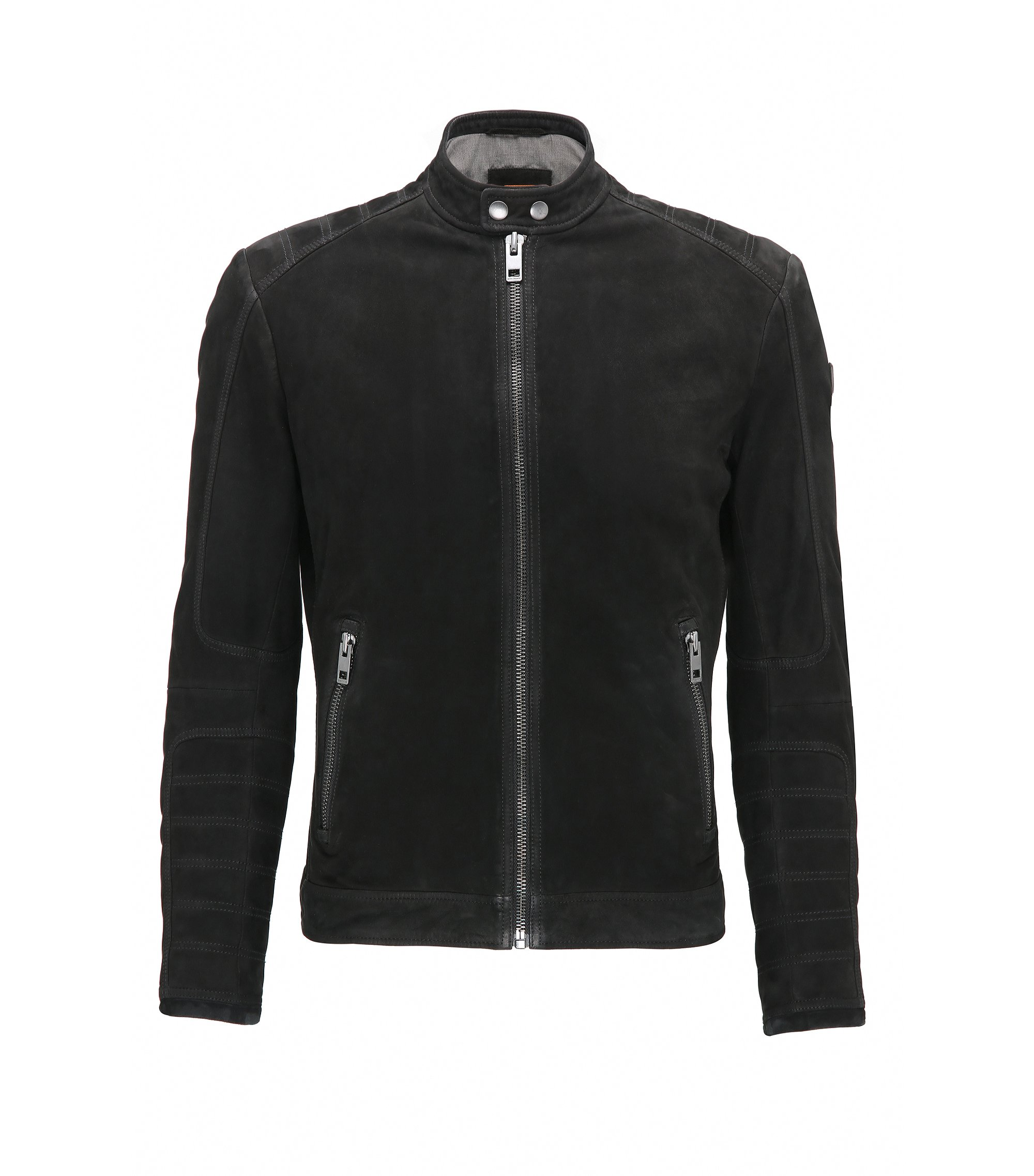 Slim-fit suede biker jacket with quilting, Black