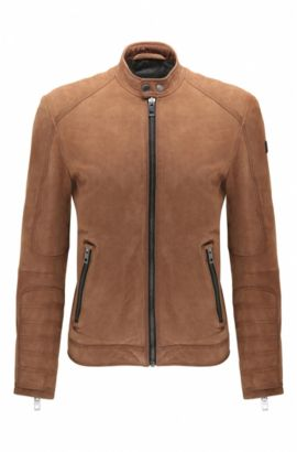 Slim-fit suede biker jacket with quilting, Beige