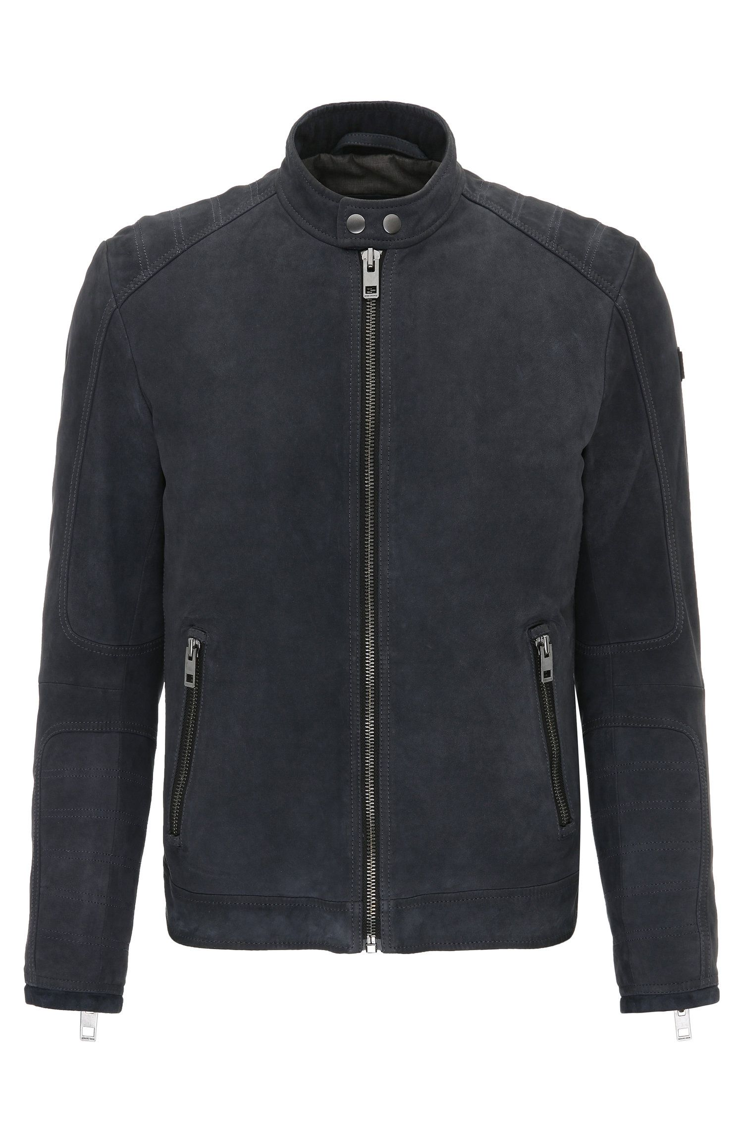 Slim-fit suede biker jacket with quilting